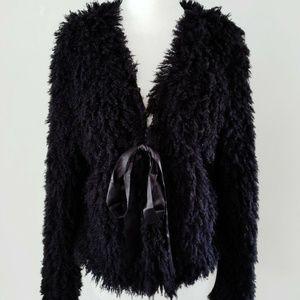 MAX STUDIO FUZZY SHAGGY FUR black jacket sweater M